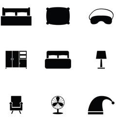 Bedroom icon set vector