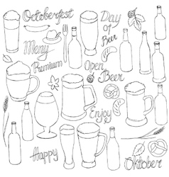 Beer oktoberfest set vector