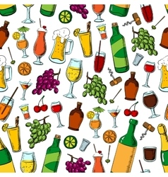 Birthday party drinks and fruits seamless pattern vector image
