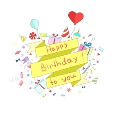 Birthday ribbon frame for text placeholder vector