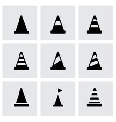 Black traffic cone icon set vector