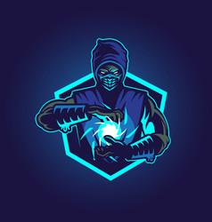 Blue ninja symbol insignia vector