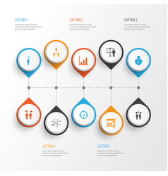 Board icons set collection of approved target vector