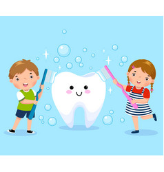 boy and girl brushing white tooth vector image