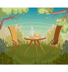 breakfast in the garden cartoon vector image