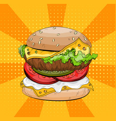 burger on pop art background big sandwich vector image