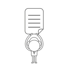 businessman character holding up written paper vector image