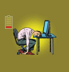 Businessman sleeping at the computer vector