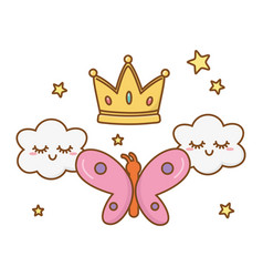 buttlerfly with crown and clouds vector image