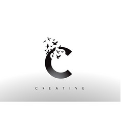 C logo letter with flock of birds flying and vector