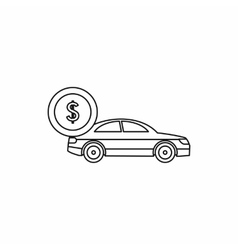 Car and dollar sign icon outline style vector