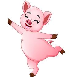 Cartoon little pig dancing vector