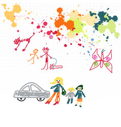 childish drawings and blots on a squared notebook vector image