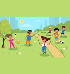 Children outdoor sport kids summer outdoor vector