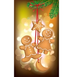 christmas cookies on the tree vector image