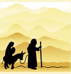 Christmas nativity mary and joseph 4 vector