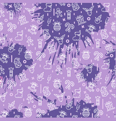 christmas seamless pattern in purple vector image