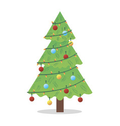 christmas tree with toy and decor typographic vector image
