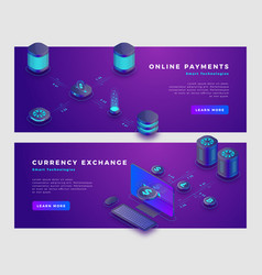 cloud payments and currency exchange concept banne vector image