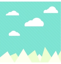 Clouds and mountains background flat web vector image