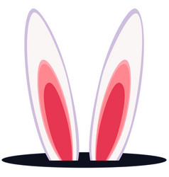 colorful cartoon rabbit ears hole icon vector image