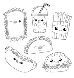 coloring bookfast food doodle vector image