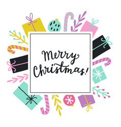 cute christmas greeting card template vector image
