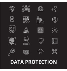 data protection editable line icons set on vector image