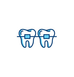 Dental braces icon orthodontic teeth line icons vector