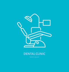 Dentist chair orthodontics line icon dental care vector