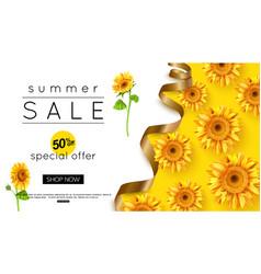 design summer sale banner with sunflower vector image