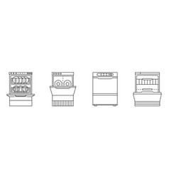 dishwasher machine icon set outline style vector image