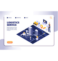 distribution and logistics isometric concept vector image