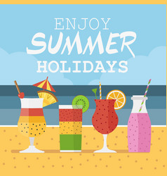 enjoy summer card with beach cocktails vector image