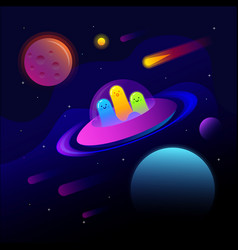 fantastic space background with ufo and good vector image