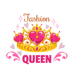 Fashion queen print template golden princess vector