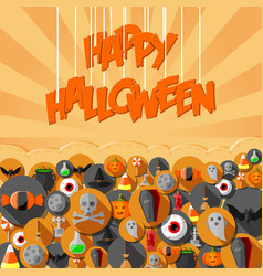 flat halloween icons in background orange vector image