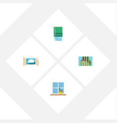 flat icon glass set of curtain flowerpot balcony vector image