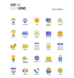 flat line multicolor icons design-basic and vector image