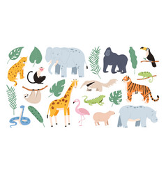 flat tropical animals from african savannah vector image