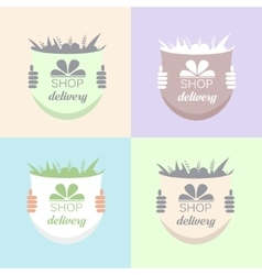 Flowers Delivery Icons Set vector image
