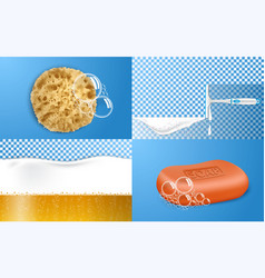 foam effect banner set realistic style vector image