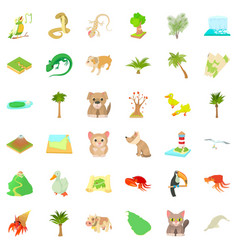 Foliage icons set cartoon style vector