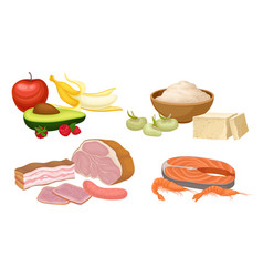 Food compositions with fruits meat and seafood vector