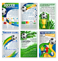 football or soccer game banner sport club design vector image