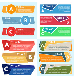 Four sets of three elements of infographic design vector