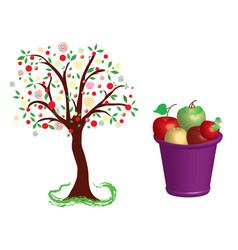 Fruit tree apples vector
