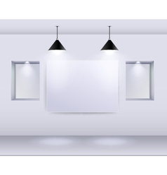 Gallery interior with empty frame on wall and spot vector