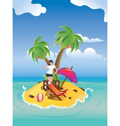 Girl on Tropical Island2 vector image