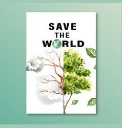Global warming and pollution poster flyer vector